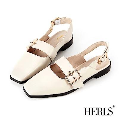 HERLS 全真皮 方頭釦環低跟涼鞋-米白