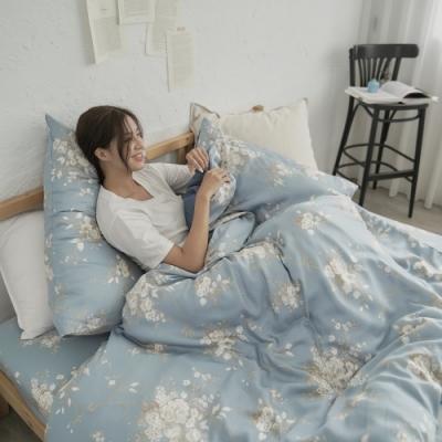 BUHO 台製300織100%TENCEL純天絲床包枕套三件組-雙人(幽蘭情思)