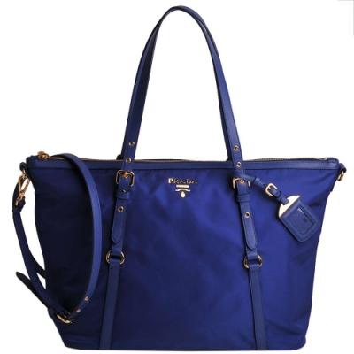 PRADA SHOPPING 經典浮雕LOGO尼龍雙槓肩背購物包(皇家藍)