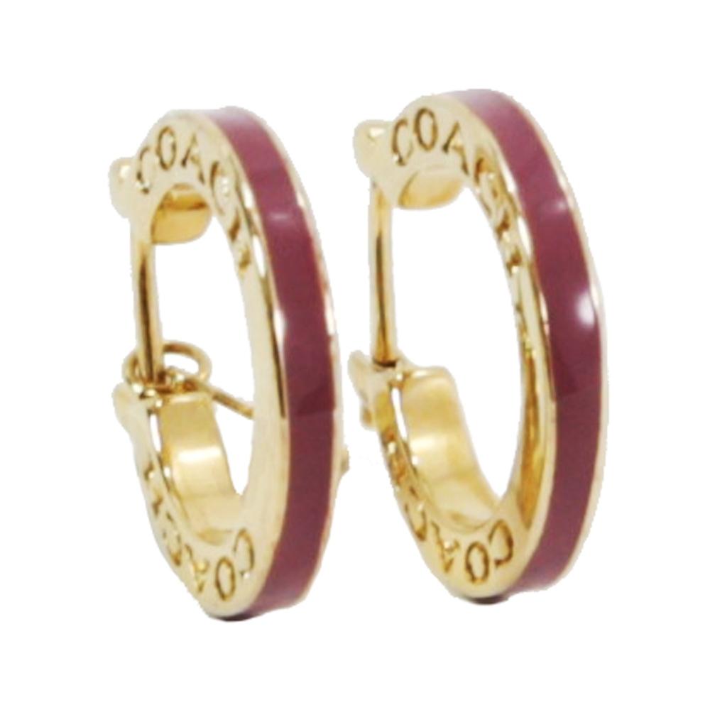 COACH 拼色金屬穿式耳環(金/草莓紅)