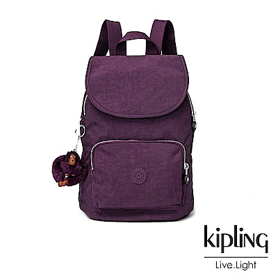 Kipling深紫素面掀蓋後背包-CAMPANA