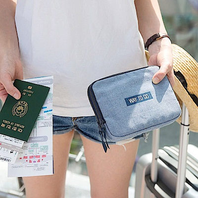 Antenna Shop 全家旅遊護照肩背包-丹寧藍