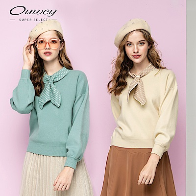 OUWEY歐薇 波點領巾造型針織上衣(米/藍)