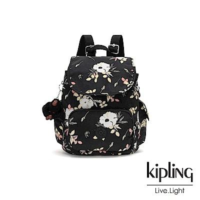 Kipling 浪漫花卉拉鍊掀蓋後背包-CITY PACK S