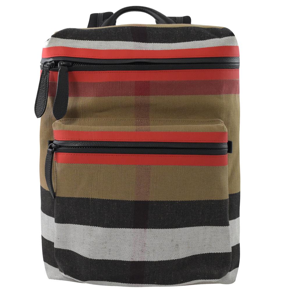 BURBERRY 棉麻彩色格紋拉鍊大後背包