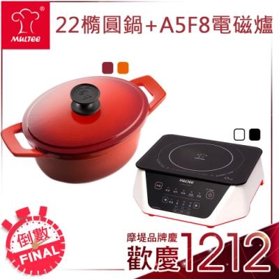 雙12限定【摩堤】聖誕暖心特惠鍋爐組(22橢圓+A5F8IH爐)