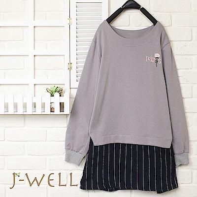 J-WELL 拼接假兩件繡花長袖上衣(2色)