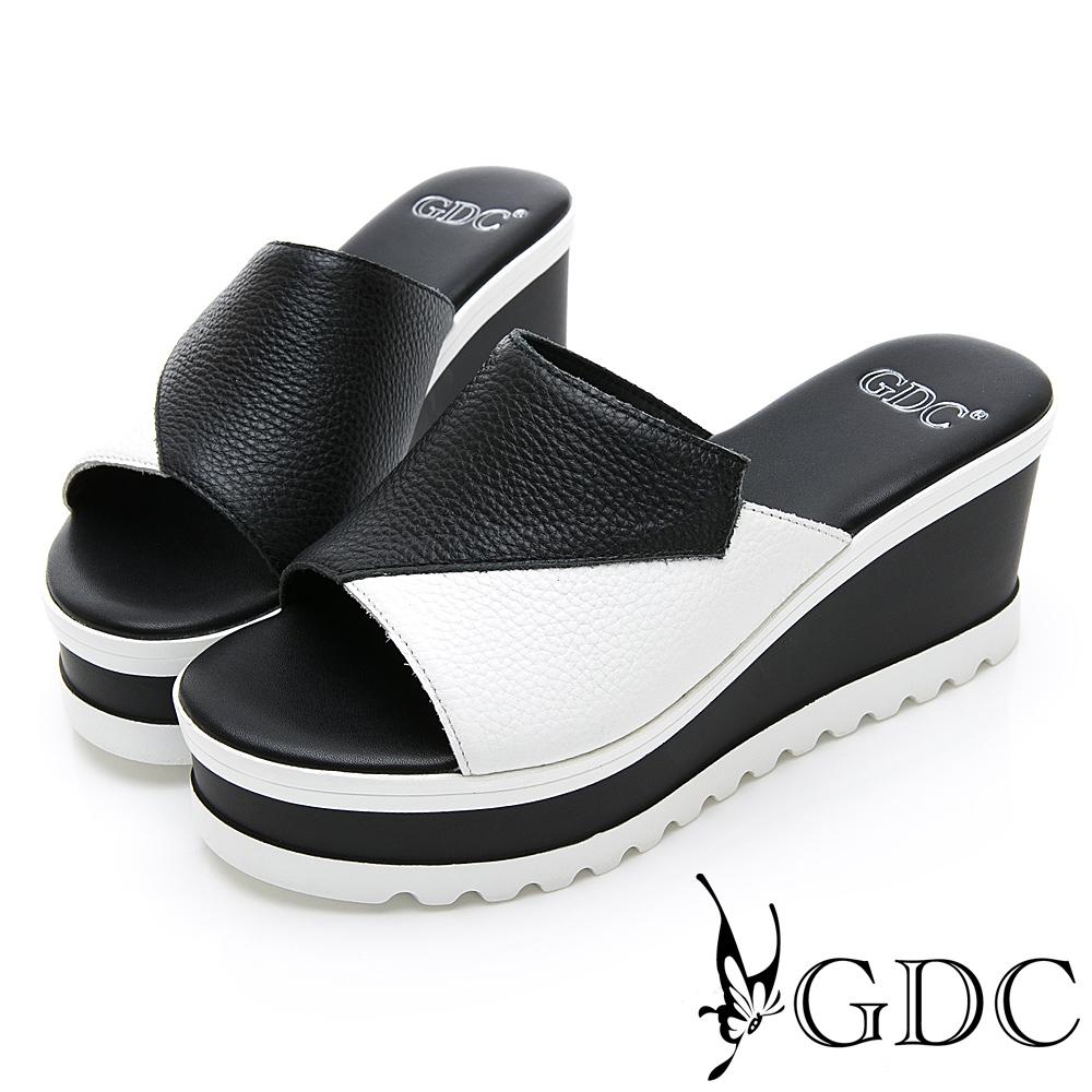 GDC-真皮撞色好搭楔型厚底簡約時尚拖鞋-黑色