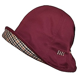 DAKS 日本製抗UV科技纖維格紋蝴蝶結遮陽帽(亮酒紅色系)