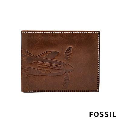 FOSSIL DANNY 飛機壓紋真皮證件格零錢袋男夾-咖啡色