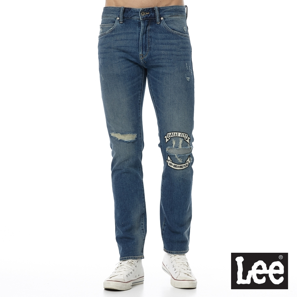 Lee 牛仔褲 707 中腰標準合身小直筒 男 中藍 四面彈