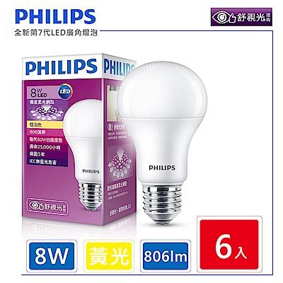 飛利浦 PHILIPS 第7代 舒視光 8W LED燈泡-黃光6入組