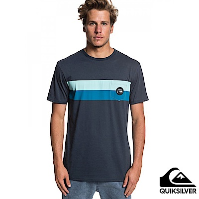 【Quiksilver】SEASON STRIPE POCKET TEE 純棉T恤 藍