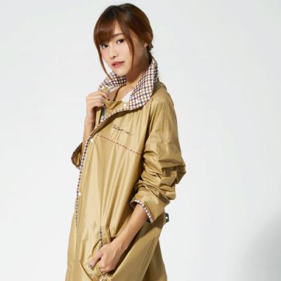 【雙龍牌】台灣素材推薦超輕量英倫時尚前開雨衣連身雨衣_卡其色