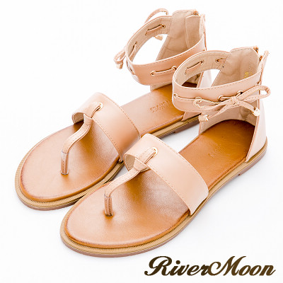 River&Moon大尺碼-韓版造型夾腳繞踝平底涼鞋-卡其杏