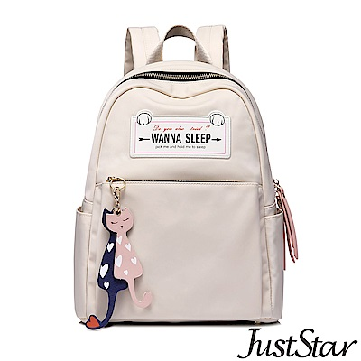 Just Star 瞌睡貓吊飾後背包 樺木杏