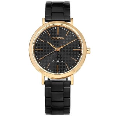 CITIZEN 光動能 格紋時尚 防水100米 不鏽鋼手錶 (EM0768-54E)-黑x玫瑰金框/37mm