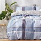 戀家小舖 / 雙人加大床包枕套組  藍格物語  100%精梳棉  活性印染