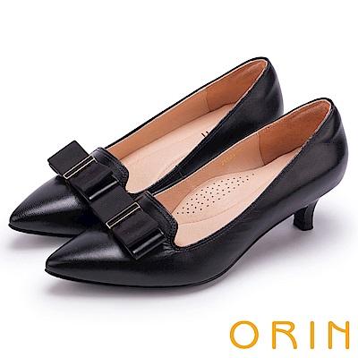 ORIN 典雅時尚女人 造型蝴蝶結妝點羊皮尖頭中跟鞋-黑色