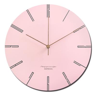 12吋 居家擺飾 輕薄簡約 邊緣數字設計 餐廳客廳臥室 靜音 圓掛鐘 - 粉色