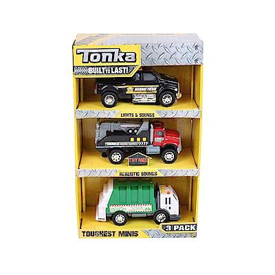 Tonka小型工程車系列警用貨卡車拖車垃圾車-三入3Y