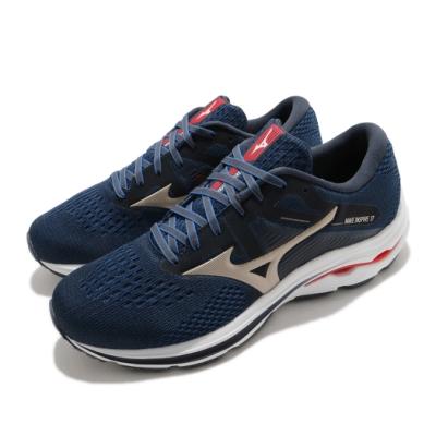 Mizuno 慢跑鞋 Wave Inspire 17 超寬楦 男鞋 緩震科技 透氣 藍 金 J1GC214542
