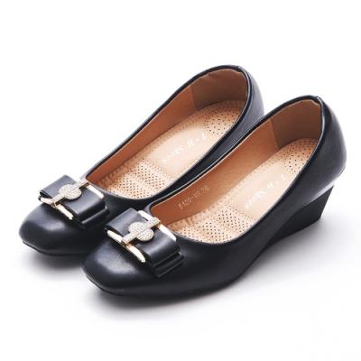 A one   方頭十字鑽飾蝴蝶結坡跟楔型跟鞋-黑色