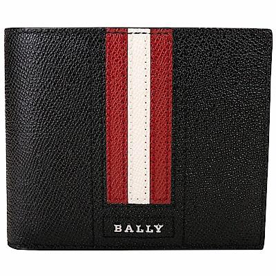 BALLY TALIKY 紅白條紋多卡層對折短夾(黑色)