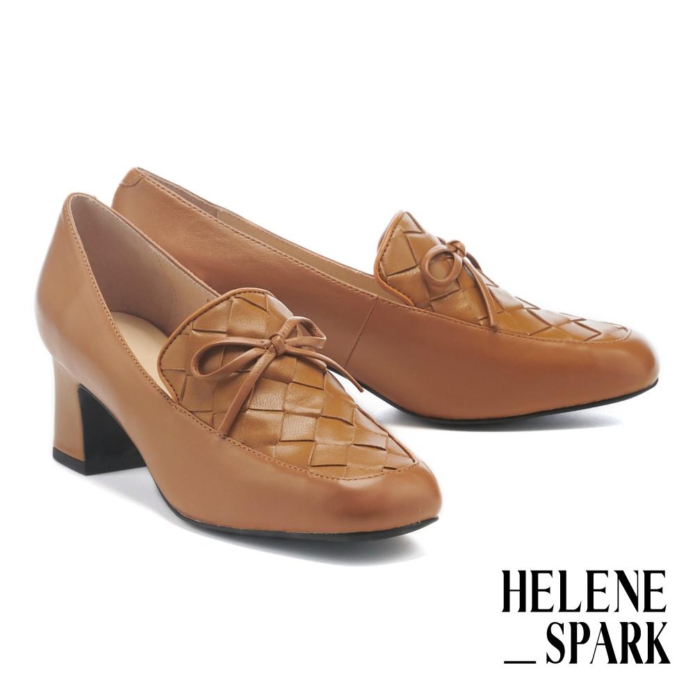高跟鞋 HELENE SPARK 經典量感編織羊皮方頭樂福粗高跟鞋-棕