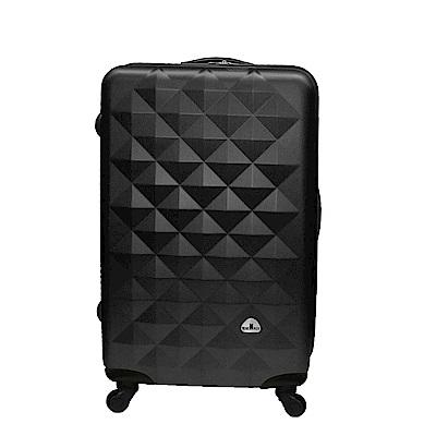 Bear Box 立體菱格晶鑽系列經典28吋 輕硬殼旅行箱行李箱-黑色