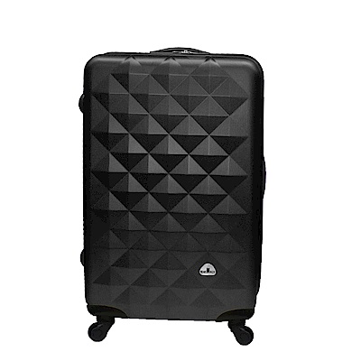 Bear Box 立體菱格晶鑽系列經典24吋 輕硬殼旅行箱行李箱-黑色