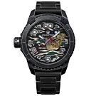 elegantsis 海軍陸戰限量款 機械錶 仿舊不鏽鋼錶帶-鍍黑/48mm