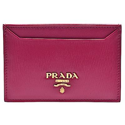 PRADA Saffiano經典金色浮雕LOGO直紋牛皮信用卡夾(槿紅)