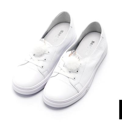 (偏小)Hong Wa 素面小毛頭飾扣牛皮小白鞋 - 白