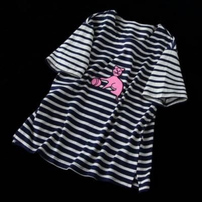 寬鬆拼接純棉印花條紋t恤汗衫上衣-設計所在