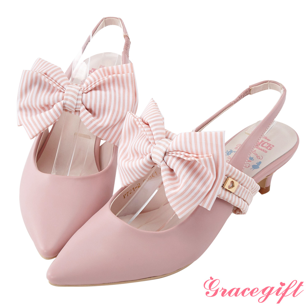 Disney collection by gracegift蝴蝶結尖頭後空跟鞋 粉