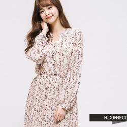 H:CONNECT 韓國品牌 女裝 - 印花百摺長洋裝 - 棕