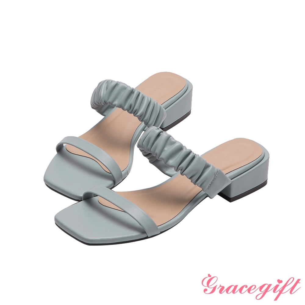 Grace gift-雙帶方頭低跟涼拖鞋 淺藍