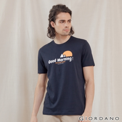 GIORDANO 男裝Greeting印花T恤 - 06 標誌海軍藍