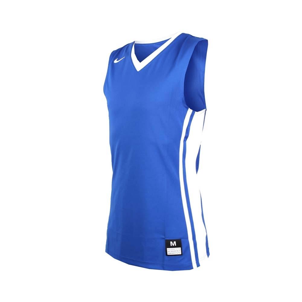 NIKE 男V領籃球針織背心-無袖背心 運動背心 球衣 藍白