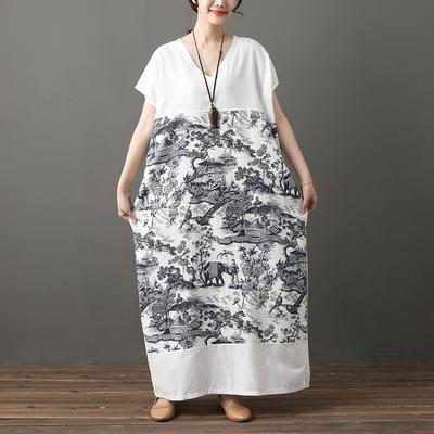 米蘭精品 連身裙短袖洋裝-中國風印花V領長版女裙子73xz26