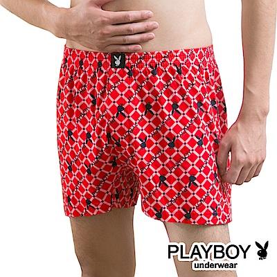 PLAYBOY MIT製印花精梳棉四角褲 大尺碼-單件-菱方格系列