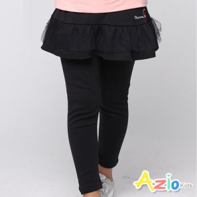 Azio Kids 女童 長褲 小巧櫻桃刺繡網紗假兩件長褲 (黑)