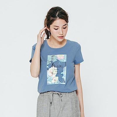 Hang Ten - 女裝 - 有機棉 夏日花漾T恤-藍色