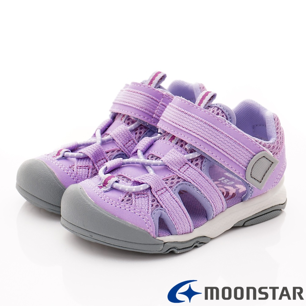 日本月星頂級童鞋 運動護趾涼鞋 FI129紫(中小童段)