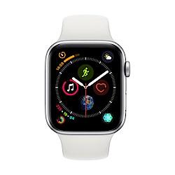 [無卡分期-12期] Apple Watch S4 GPS 44mm 銀色鋁錶殼搭白色錶帶