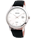 SEIKO 精工 簡約城市腕錶-銀白/41mm-SUR225