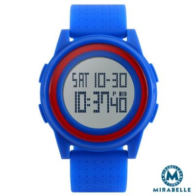 Mirabelle 雙框炫色 LED鬧鐘防水矽膠手錶 藍帶紅框(skmei)