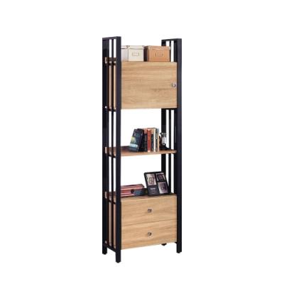 柏蒂家居-肖恩工業風2尺一門二抽開放式書櫃/書架/收納置物架-60x40x203cm