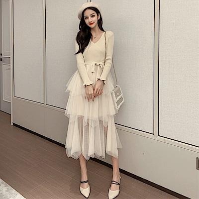 DABI 韓國風氣質針織拼接層層網紗內搭長袖洋裝